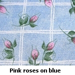 blue squares with roses