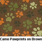 Camo Pawprints on Brown