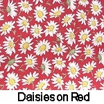daisies on red background
