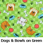 Dogs & Bowls on Green
