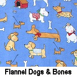 Flannel Dogs & Bones on Blue