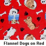 Flannel Dogs on Red