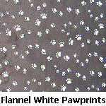 Flannel White Pawprints on Black