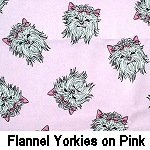 Flannel Yorkies on Pink
