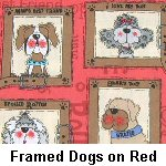 Framed Dogs on Red