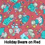 Holiday Bears on Red