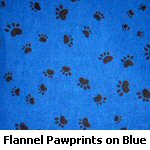Flannel Black Paw Prints on Blue