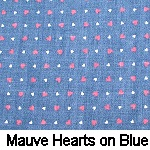 Mauve Hearts on Blue