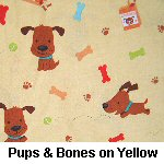Pups & Bones on Yellow