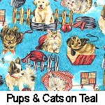 Pups & Cats on Teal