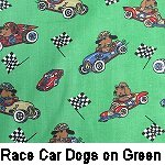 Race Car Dogs on Green