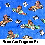 Race Car Dogs on Blue